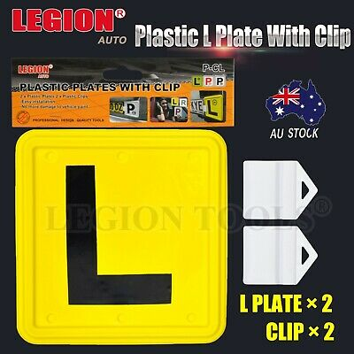 2x 2PCS Plastic L P Plate Clips Holder Set White Car Number License  L Red Green
