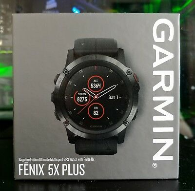 GARMIN FENIX 5X Plus Sapphire (Black) GPS Sports Watch (Brand New)