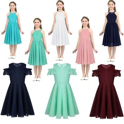 Girls Princess Dress Kids Summer Cold Shoulder Casual Party Birthday Prom Dress
