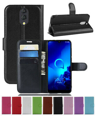For Alcatel 3L 2019 Classic Magnetic PU Leather Flip Wallet Case Stand Cover