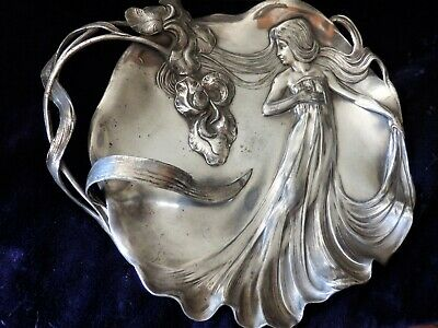 A stunning and very large Art Nouveau WMF Jugendstil tray with stylish maiden