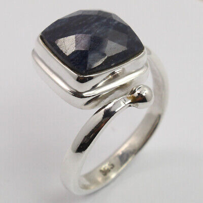 BLUE SAPPHIRE DYED Stone Ring Size US 7.25 Unique Style 925 Sterling Silver FS