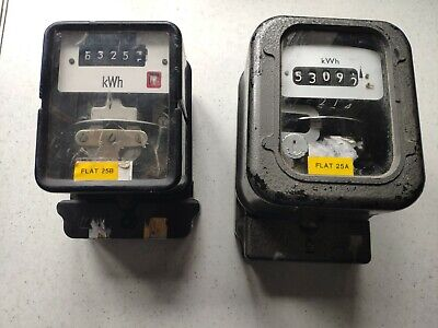 Qty 2 off Domestic Single Phase mechanical Electric meter ideal for Flats etc