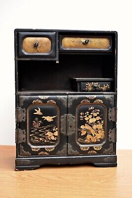 Antique Japanese Meiji Lacquered Tansu Jewellery Box Case Makeup Cabinet