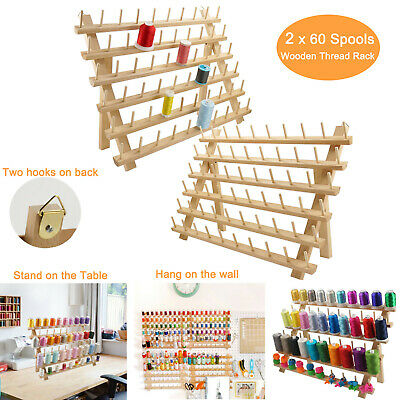 2x Wooden Thread Rack/Thread Holder Organizer 60 Spools for Embroidery Quilt Sew