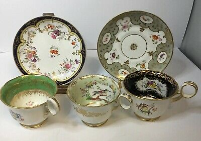 3 X Antique Minton Coffee Cups C1830's And Two Saucers, All Hand Painted