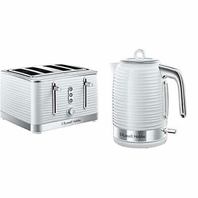 Kitchen Set of 2 White Russell Hobbs Kettle and 4-Slice Toaster Home Appliance
