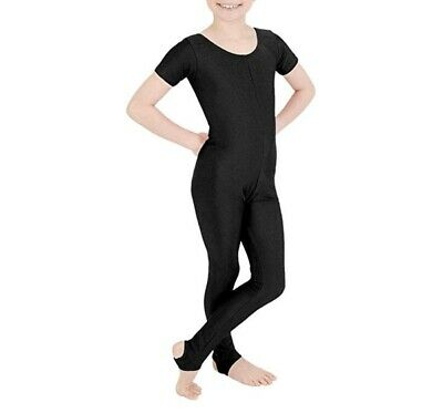 Girls Shiny Lycra Short Sleeves Kids stirrup foot Dance Gymnastics Catsuit