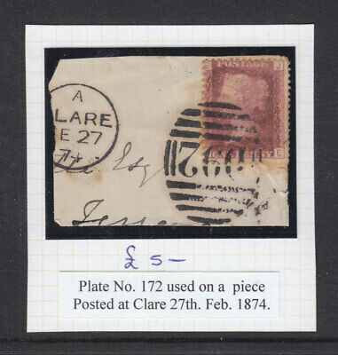 Gb: Penny Red Plate # 165  Used On Piece Nice  Clare Duplex.
