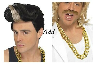 Unisex Adult 80's 90's Rapper Hip Hop Ice T Highlight Quiff Wig Fancy Dress Fun