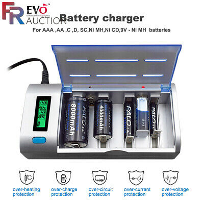 Chargeur de batterie rechargeable LCD PALO pour piles Ni-MH Ni-CD 9V AA AAA C D
