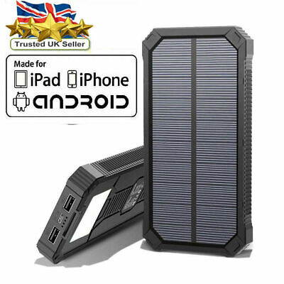 300000mAh Ultra Thin Portable Solar Power Bank 2USB Battery charger all mobiles