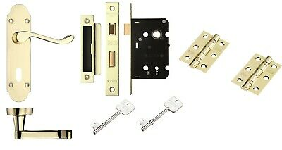 Scroll Polished Brass Handle Internal 3 Lever Lock Set with Hinges