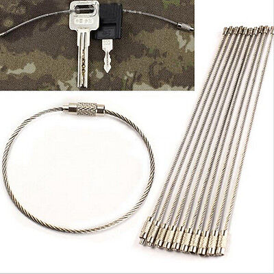 10pcs Stainless Steel EDC Cable Wire Loop Luggage Tag Key Chain Ring Screw VE