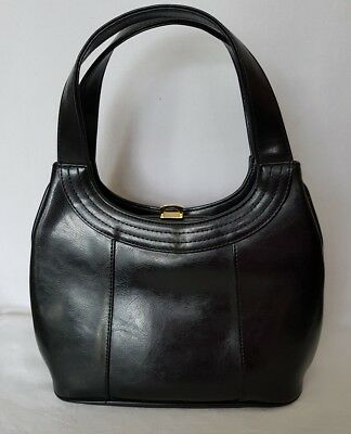 Rare Vintage Japelle by Jane Shilton Ladies Real Leather Black Shoulder Grab Bag