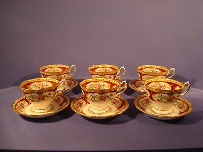 Royal Albert, Lady Hamilton Pattern, Set Of Six Teacups And Saucers