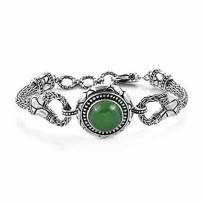 Toggle Clasp Bracelet 925 Sterling Silver Round Green Jade Jewelry for Women