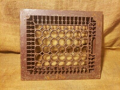 "Antique Victorian Cast Iron Heat Grate Floor Vent Heat Register 10""x12"" Opening"