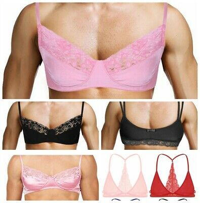 Men Mesh Bra Fabric Bralette Wire-free Tank Top Crop Tops Sissy Sleep Nightwear