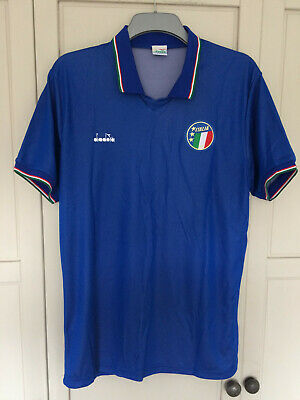 MALDINI 7# Italy Diadora Home Football Shirt Jersey WORLD CUP Italia 90 1990 LRG