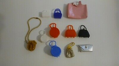 Vintage Lot of 10 Barbie Doll Purses Round Square Pink Gold White Blue Red Black