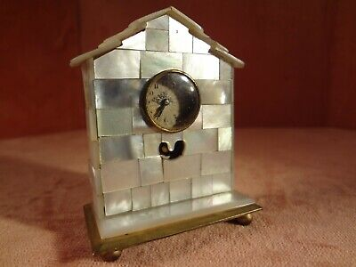 Miniature Mother of Pearl Cased Clock With Original Outer Case