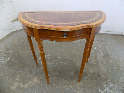 demi lune,hall table,drawer,leather top,fluted legs,console table,antique,repro