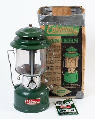 1972 Coleman Model 220F Lantern Green Double Mantle Clear Globe in Box Untested