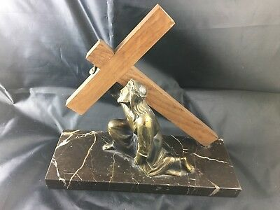 Antique Jesus way of the cross bronze on marble Christ religious