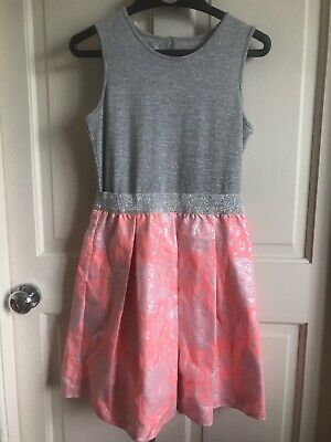 BNWOT Nutmeg Sleeveless Dress. Girls. Grey/ Neon Pink. Age 10-11 Years. Party