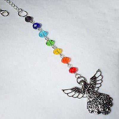 Guardian Angel Wings Colourful Crystal Sun Catcher Rear View Car Mirror Charm