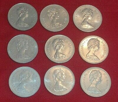 Lot of 9 50 cent coins Canada 1974 - 1986