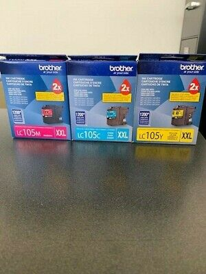 Lot of 3 Genuine Brother LC105C LC105M LC105Y XXL Super High Yield Ink Cartridge