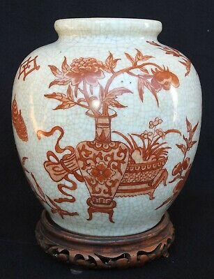 Antique Chinese Decorated Crackle Glazed Vase w/ Floral Artwork w/ Wood Stand