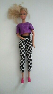 Barbie Doll Fashionista Jointed White/Black Polka Dot Pants Purple Leather Shirt