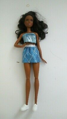 Barbie Doll 1990/2015 African American Jointed Long Black Hair W/Clothes Shoes