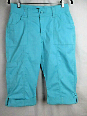 Riders by Lee Size 6 M Women's Skimmer Blue Turquoise Mid Rise Capri Pants