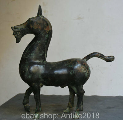 "16"" Old Chinese Bronze Ware Dynasty Zodiac War Horse Equine success Lucky Statue"