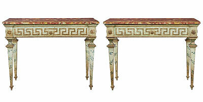 Rare Pair Of 19Th Century Painted Italian Console Tables