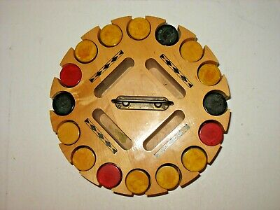 Vintage MCM 395 Catalin-Bakelite Butterscotch Red Blue Poker Chips & Card Caddy