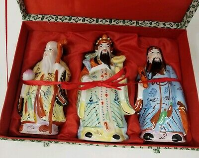 Yung Kee  Boxed Set - Chinese Porcelain Figurines Fu Lu Shou  Gods of Fortune