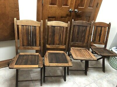 Vintage Oak Wood Folding Chairs Full Slat Backs & Seats-8 Available