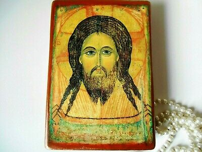 Byzantine icon of Jesus Christ Orthodox Catholic icon thick wood Canada