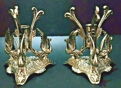 Antique Pair of Silver Plated Figural Epergne Bases with Winged Griffins c1900