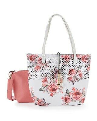 IMOSHION 2pc Bag In A Bag Floral Print Reversible Tote Handbag with Crossbody
