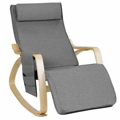 Rocking Chair Lounge Adjustable Footrest Removable Cover Wood W/ Pillow & Pocket