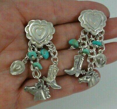 Sterling Silver Heart Concho Cowboy Hat Boot Horse Charm Earrings Turquoise