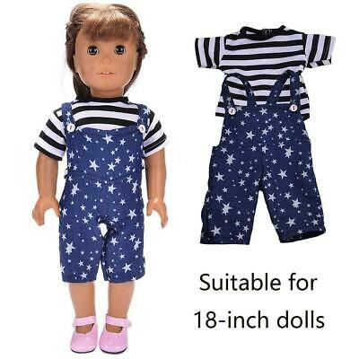 "Handmade Doll Clothes T-shirt Bib Pants Outfits Set Hot Dolls For 18"" Girl A4Y8"