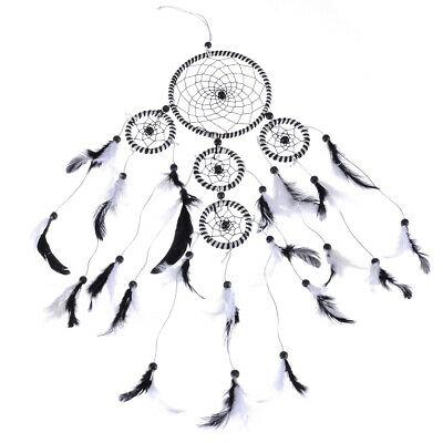 5 Rings Handmade Dream Catcher Bedroom Hanging Feather Ornament Gift Black White