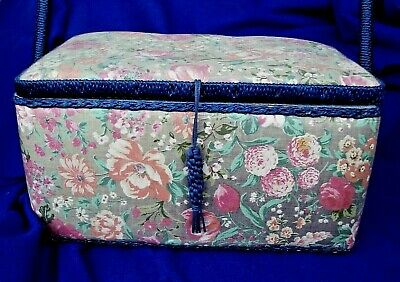 Vintage Padded Sewing Box & Contents Wicker Over-handle Insert/2nd Layer Floral